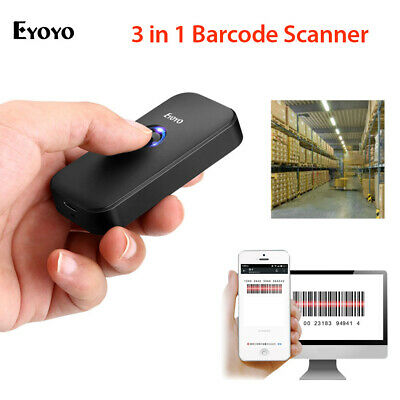 Eyoyo 2.4G Wireless & Wired & Bluetooth Barcode Scanner for Phone iPhone Tablets