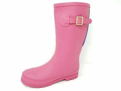 Girls Childrens Kids Pink Rubber Wellies Rain Snow Boots Zip Buckle Size 12-5