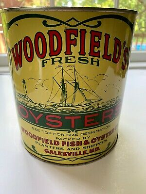 Vintage 1 Gallon Woodfield's Oyster Tin/Can 1950's