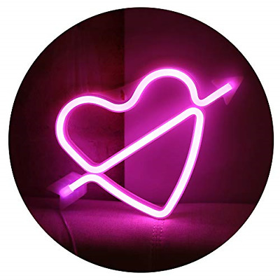 Neon Art Decorative Lights Love Led Cupid Heart Signs Wall Decor Girls Bedroom