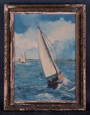 "Beautiful Vintage Nautical Impressionist Oil Painting ""Sailboats At Sea"" Signed"