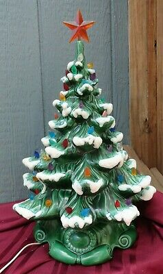 """Vintage Ceramic Mold Flocked Snow Christmas tree with Base & Star 18"""" tall works"""