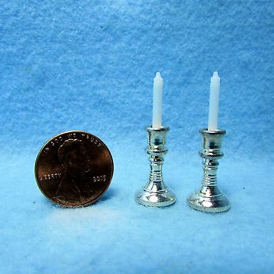 Set of 2 Dollhouse Miniature Silver Candle Sticks with White Candles #WCLA34