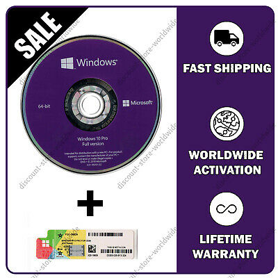 Microsoft Windows 10 Pro 64-Bit Official Install Disc 📀 + 🔑 Dvd & License Key
