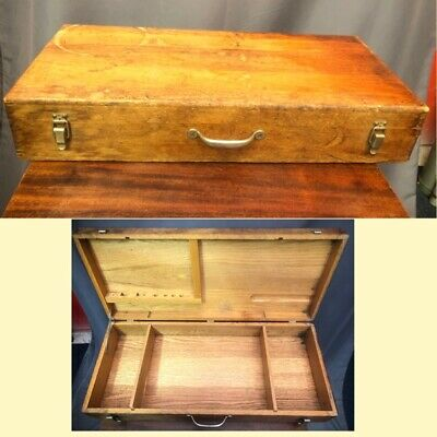 Stanley Antique Oak Wood Tool Box Large Dovetail Chest Made In USA