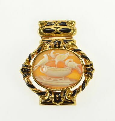 18K Ornate Victorian Bird Bath Carved Cameo Piece Yellow Gold *73