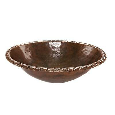 Premier Copper Products Oval Roped Rim Self Rimming Hammered Copper Sink