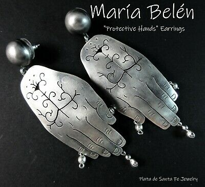 """Taxco Designer~Maria Belen~ """"PROTECTIVE HANDS""""~ Oxidized Sterling Earrings"""