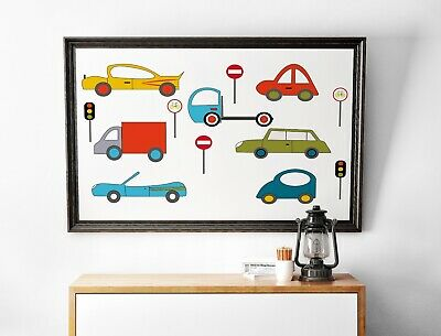 TOY CARS VEHICLE TRANSPORT KIDS NURSERY HOME ART PRINT POSTER PICTURE BMP024A