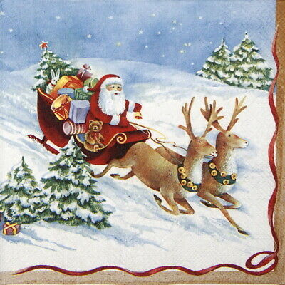 4x Paper Napkins for Party, Decoupage- Hurry Up, Santa