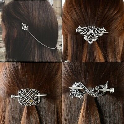 Viking Hair Accessories Vintage Celtics Knots Thistle Thorns Hairpins Jewelry