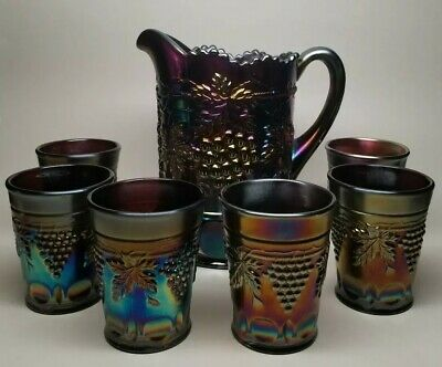 Northwood GRAPE CABLE Amethyst Carnival Glass Water Pitcher Tumbler Set Antique