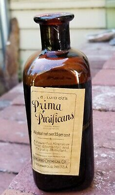 Antique Medicine Pharmaceutical Bottle Prima Purificans with Label with Contents