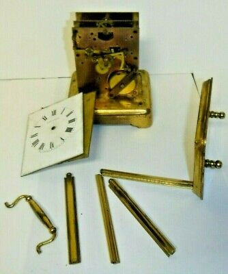 Antique 8 Day New Haven Brass Carriage Chime Clock Case Mvt. Etc. Parts Repair