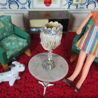 Vtg 60s Dollhouse SILVER TABLE LAMP Petite Princess Look Bedroom Light Lampshade