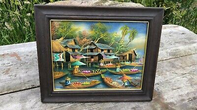 Beautiful Vintage Chinese Oriental Signed Framed Painting Painted On Leaves *