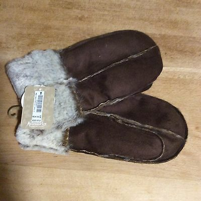 Monsoon Acc Brown Faux Suede fur Lined  Mittens Size M/L NWT RRP £22