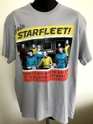 STAR TREK Men's Graphic Tee - Join Starfleet - 100% Cotton Gray Size L