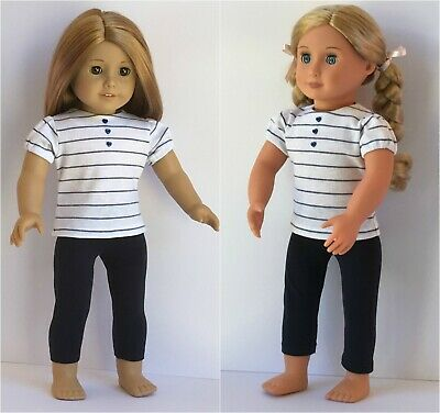 Fits American Girl, Our Generation 18 inch 46 cm dolls Navy Leggings & T-shirt