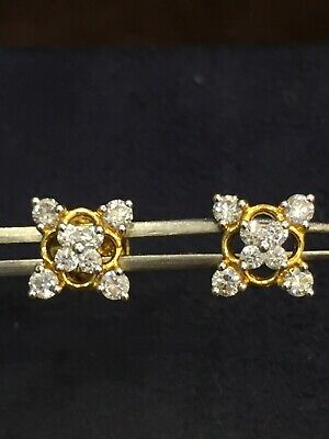 Pave 0.55 TCW Round Brilliant Cut Natural Diamonds Stud Earrings In 750 18K Gold