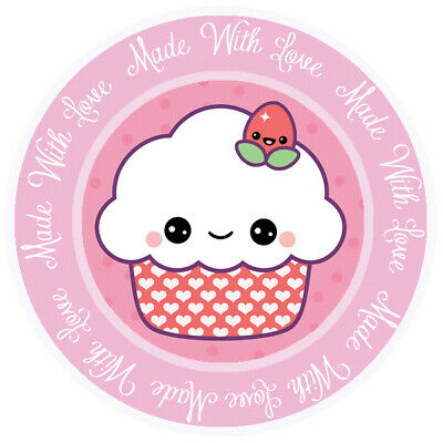 Made With Love Pink Round Sticker For Baking Cooking Food Packaging