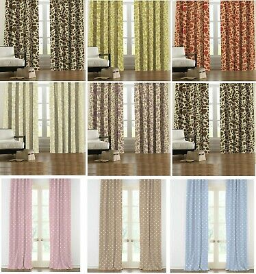 Thermal Blackout Curtains Pair Ready Made Pencil Pleat Top Free Hooks Included