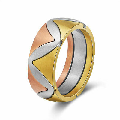 316L Stainless Steel 8mm Wide Ring Rose Gold&Gold Plated Vintage Band Jewelry