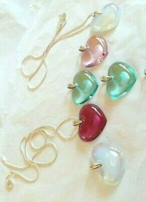Lalique Pendant Crystal Large Heart's All Colours  With Silver Chain New Boxed