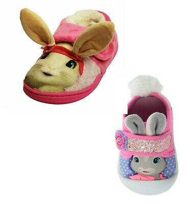 Girls Slipper Peter Rabbit Pink 3D Lily Bobtail Touch Fasten Closing UK 5-10