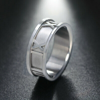 Stainless Steel Punk Rings 8mm Width Band Roman Numerals Design Girls Jewelry