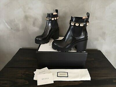 a5711326 **GUCCI** 2019 BLACK Trip Embellished Crystal GG Chelsea Ankle Boots Booties