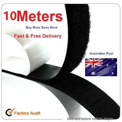 10 Meters Self Adhesive HOOK and LOOP Fastener Tape Black Fastening 10M 2.5cm