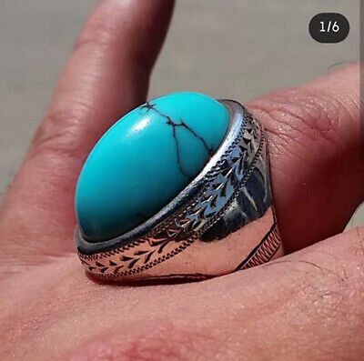 Solid 925 Sterling Silver Natural Blue Turquoise Gemstone Huge Mens Ring Jewelry