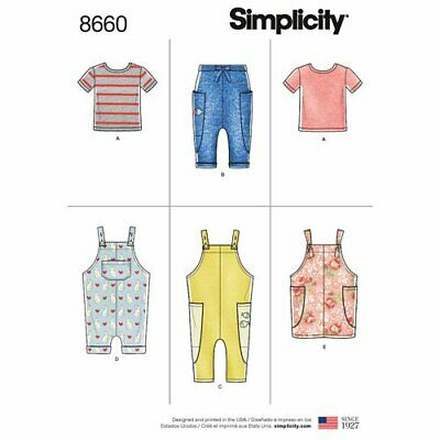 Simplicity Sewing Pattern 8660 Boys Girls ½-4 Knit Top Pants Jumper and Overalls