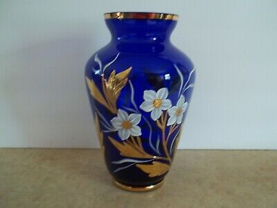 Moser? Bohemian Cobalt Blue Vase with Heavy gold Gilding and enamel Flowers