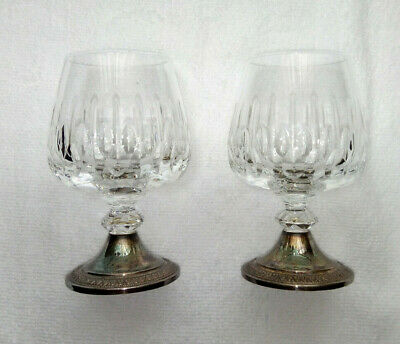 Vintage Pair of Crystal Cut Glass Balloon Brandy / Snifter / CognacGlasses