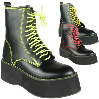 Women Ankle Chunky Lace Up Goth Punk Shiny Zip Platform Ladies Boots Size