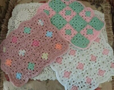 Crochet Blanket Quilt Throw Clothes for Barbie Dolls  or Teddy -  Many colours