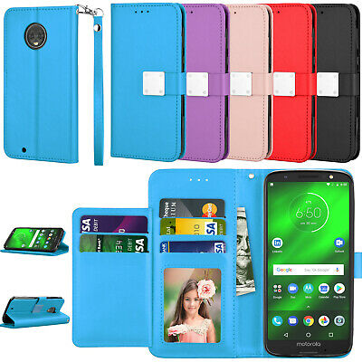 For Motorola Moto G6/E5 GO/Z4 Flip Case Leather Wallet Shockproof ID Card Slots