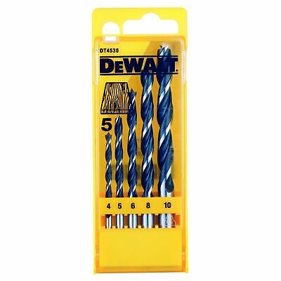 DeWalt 5 Piece Brad Point Wood Drill Bit Set 4-10mm Hardwood Chipboard