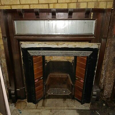 Restored Rare Victorian arched cast iron fireplace fire place register grate