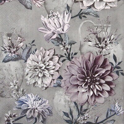 4x Paper Napkins for Party, Decoupage Craft -  Flower Daria grey