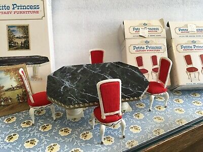 VTG. Petite Princess Dollhouse Furniture Dining Table & 4 Hostess Chairs  Boxes