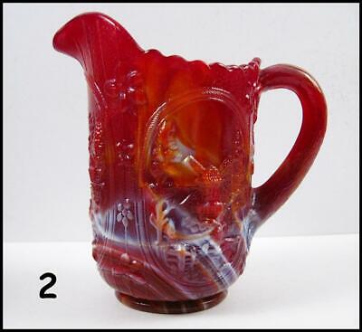 """Vintage IMPERIAL SLAG GLASS 6 1/2"""" Windmill Pitcher RUBY RED EXCELLENT GLOSSY 2"""