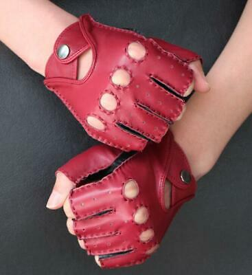 Men's Genuine Leather Gloves Fingerless Motorcycle Cycling Outdoor Driving
