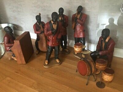 ANTIQUE HAND PAINTED BLACK AMERICANA JAZZ BAND FIGURE  20s  REPRO PHIL YBOT