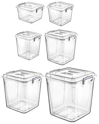 Small Medium Large Clear Plastic Box Kitchen Food Flour Storage Container Tubs