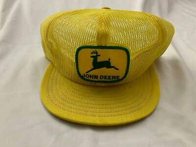 Vintage JOHN DEERE Patch All Mesh Trucker Hat Snapback Cap Louisville MFG Yellow