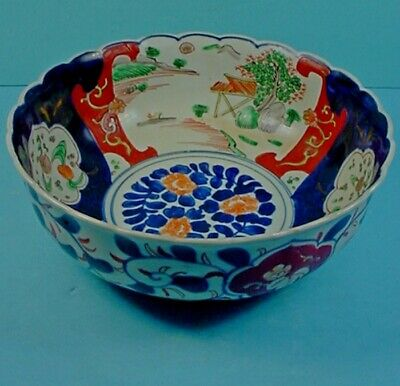 "LARGE 10"" 19th CENTURY JAPANESE GOSAI IMARI PORCELAIN SCALLOPED RIM BOWL"