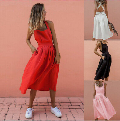 Womens Boho Sundress Summer Holiday Beach Party Strappy Maxi Backless Dress S-XL